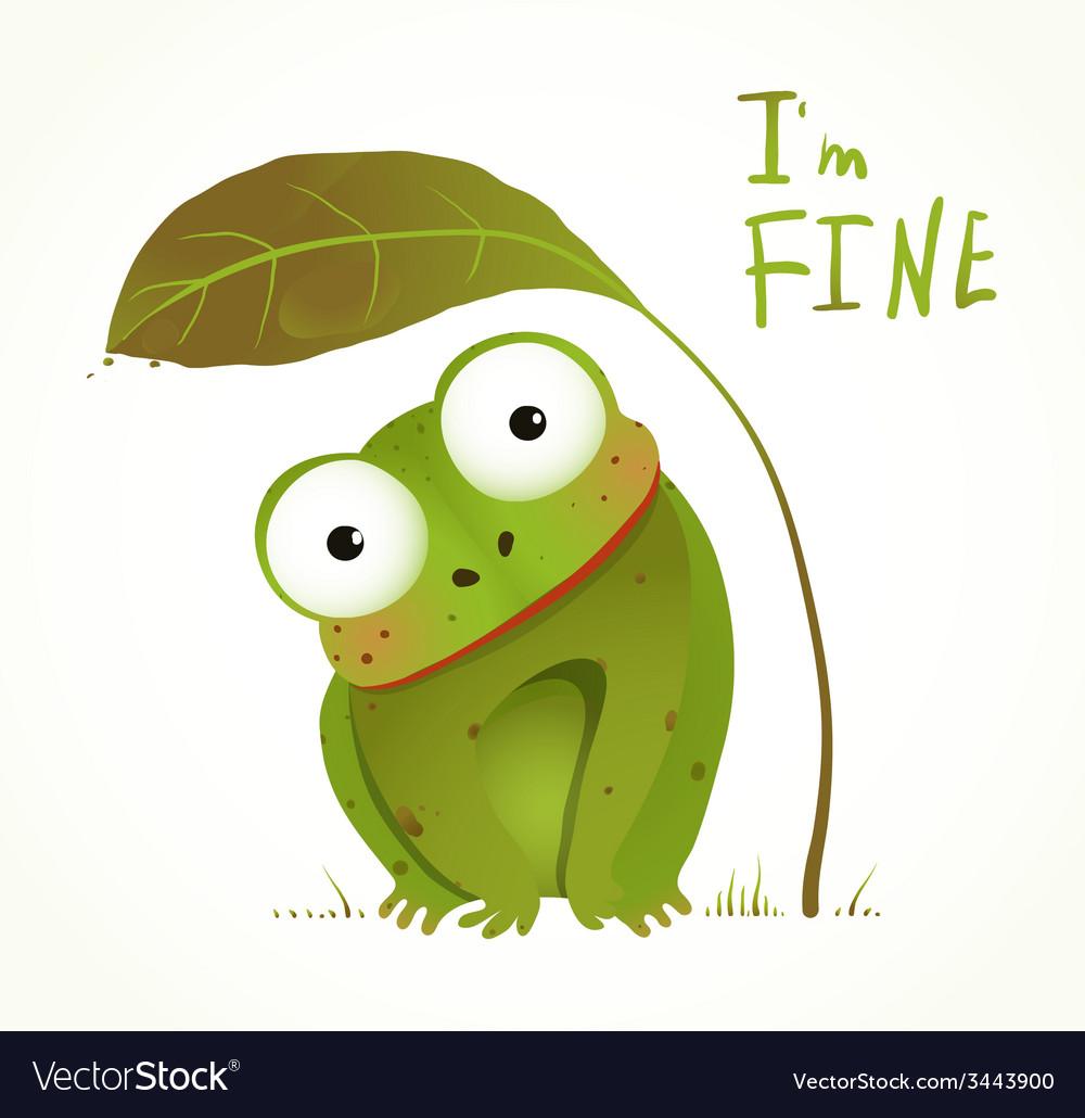 Green baby frog childish animal fun cartoon vector | Price: 1 Credit (USD $1)