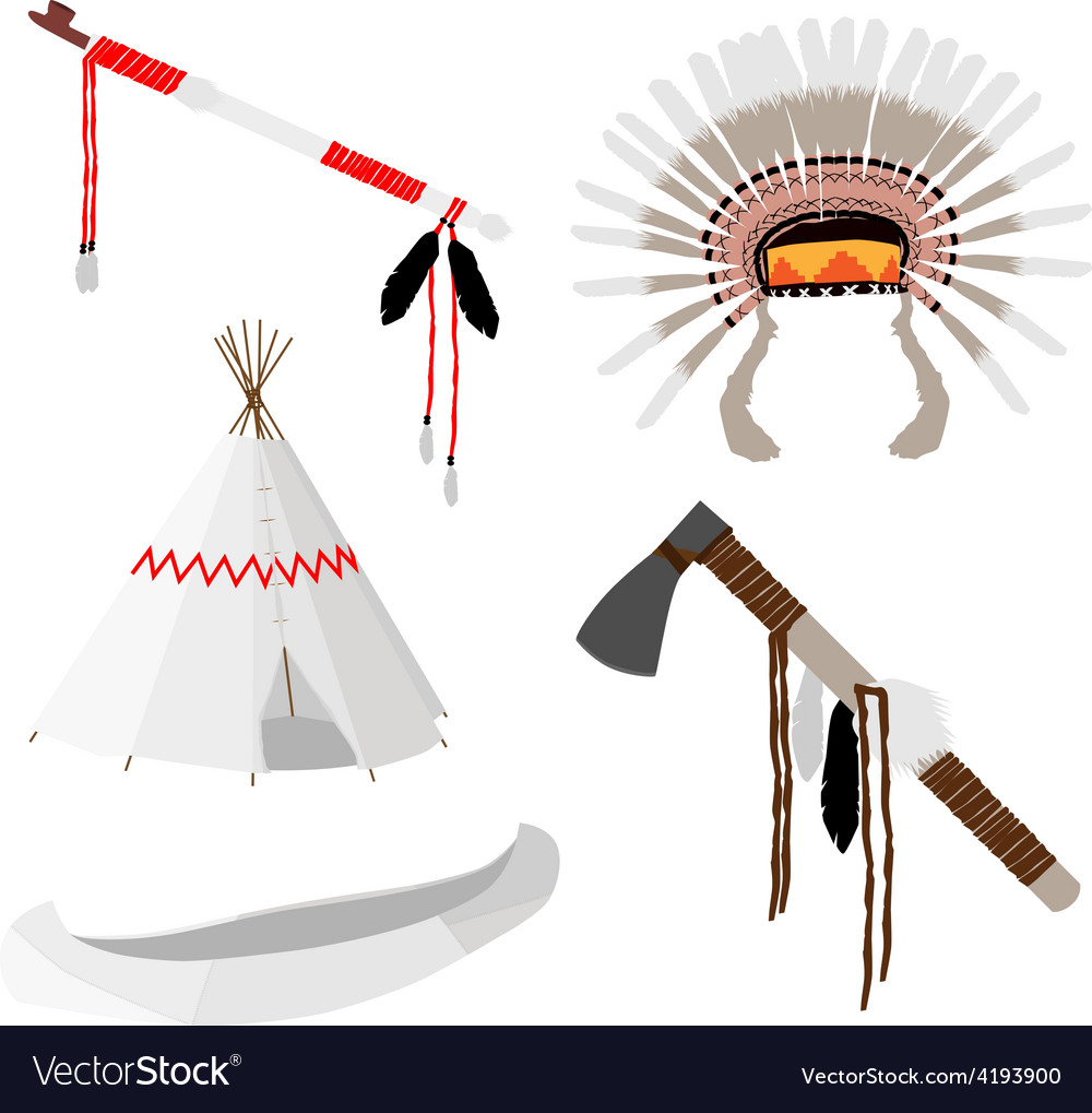 Native american set five icons vector | Price: 1 Credit (USD $1)