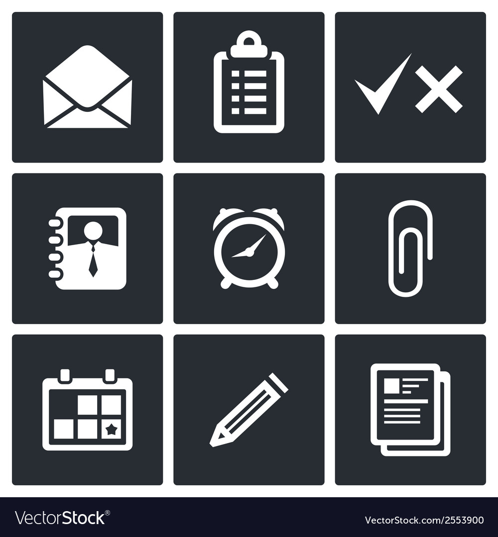 Office icons set vector | Price: 1 Credit (USD $1)