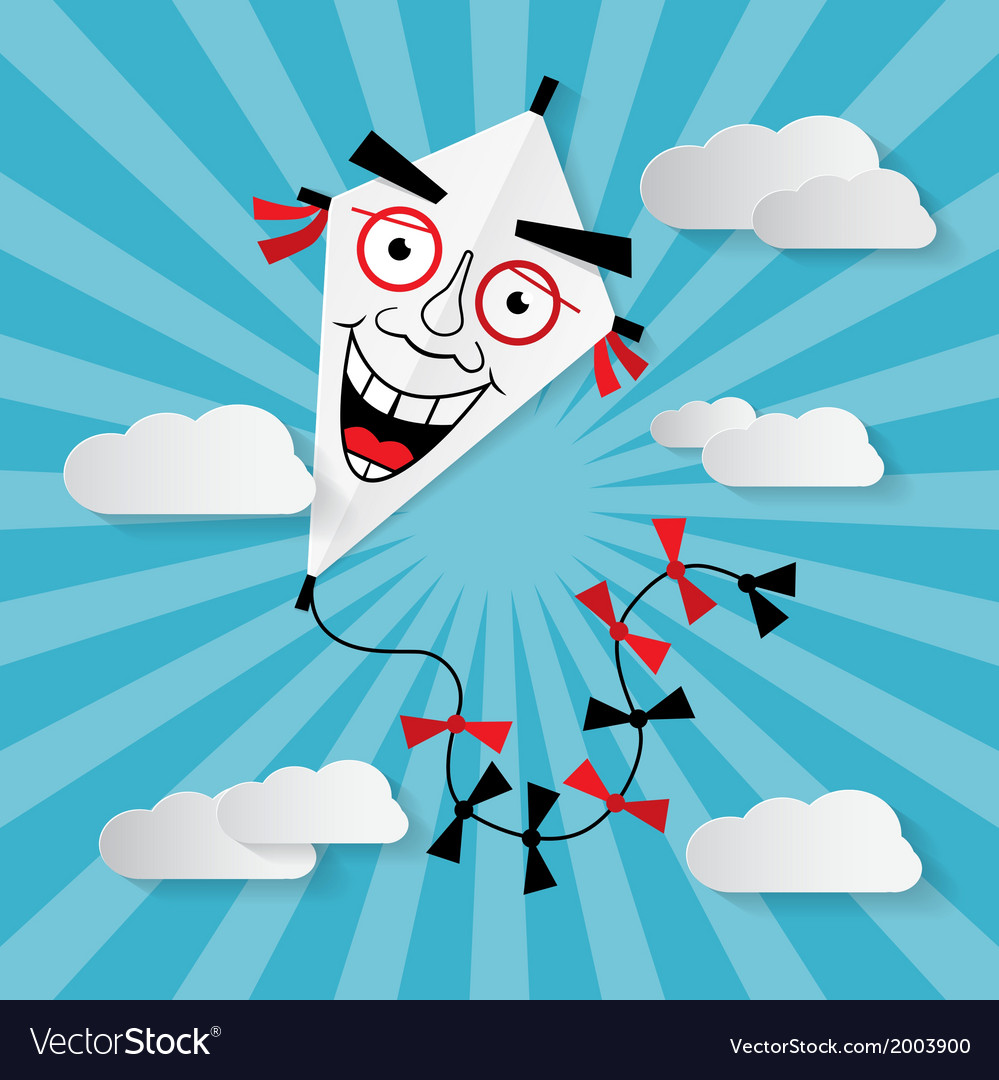 Paper kite on sky with clouds - vector | Price: 1 Credit (USD $1)