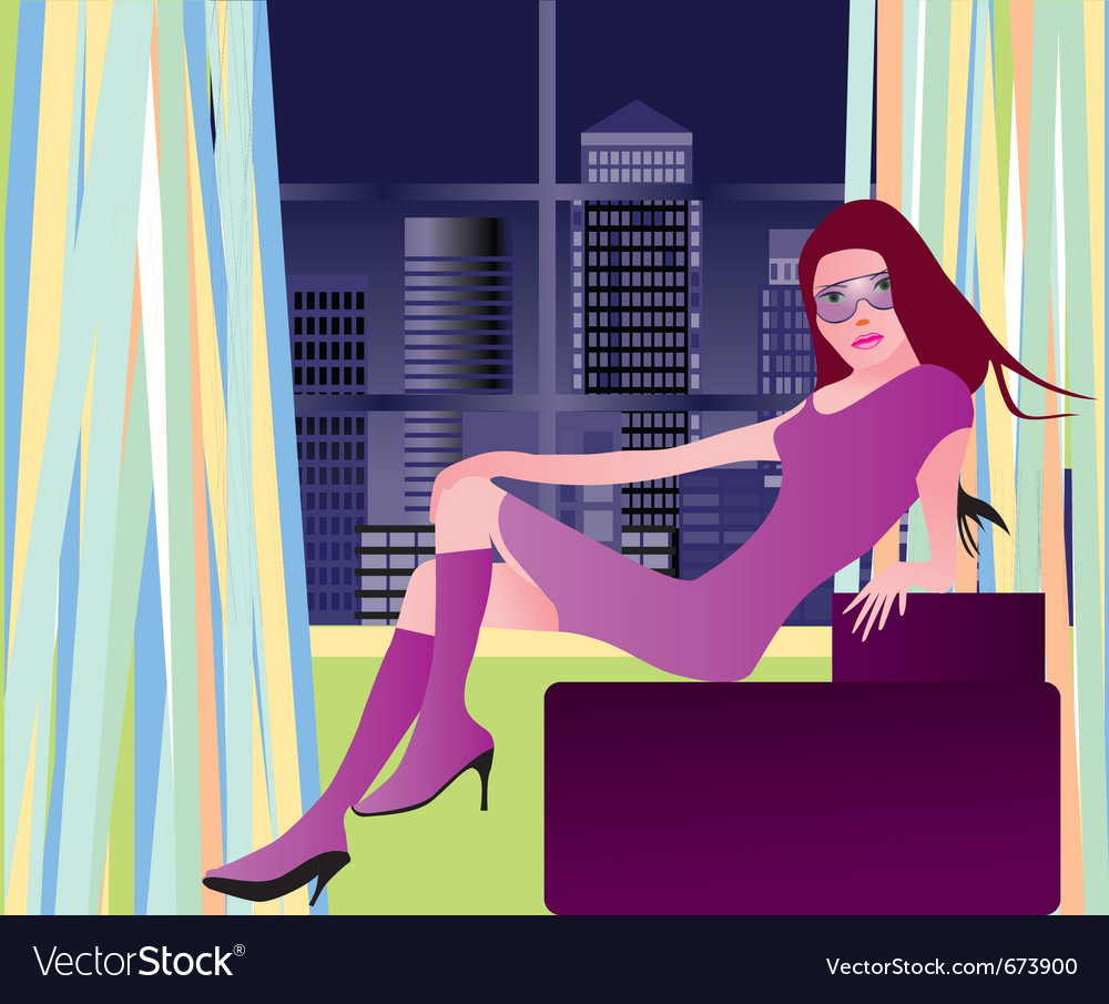 Party girl in london vector | Price: 1 Credit (USD $1)