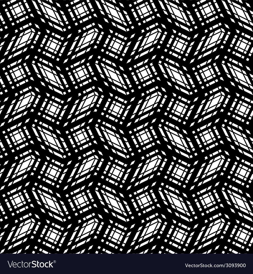 Stripes geometric seamless pattern black and white vector | Price: 1 Credit (USD $1)