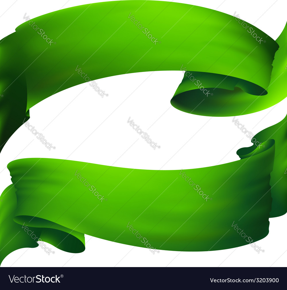 Waving green ribbon banner  drawing vector | Price: 1 Credit (USD $1)