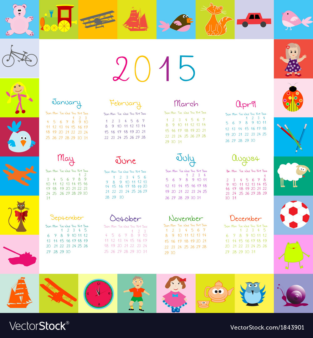 2015 calendar frame with toys vector | Price: 1 Credit (USD $1)