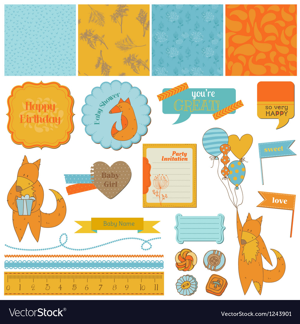 Baby shower set with cute foxes vector | Price: 1 Credit (USD $1)
