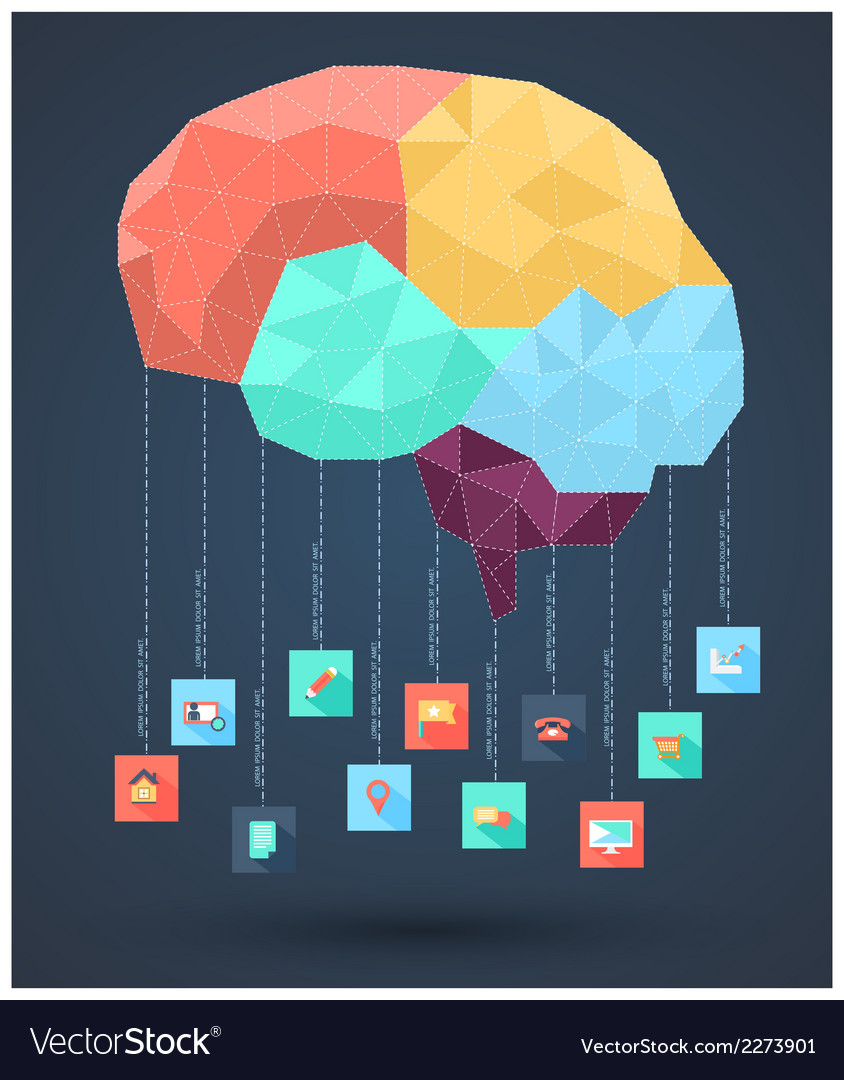 Brain abstract with icons vector | Price: 1 Credit (USD $1)