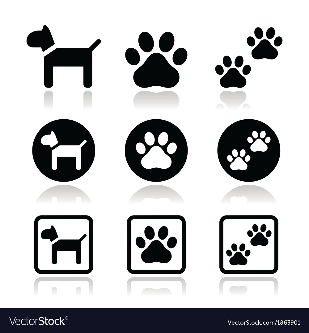 Dog paw prints icons set vector | Price: 1 Credit (USD $1)