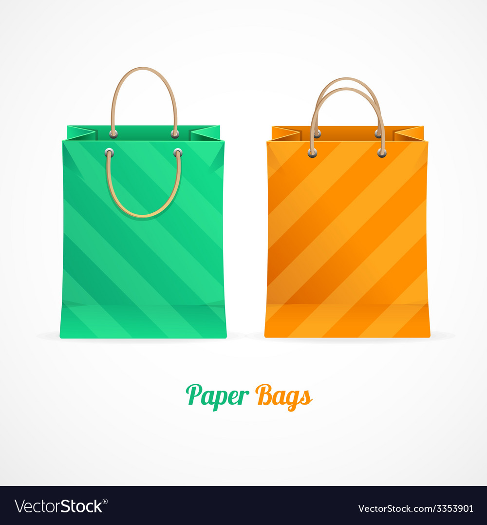 Green and orange paper shopping bags vector | Price: 1 Credit (USD $1)