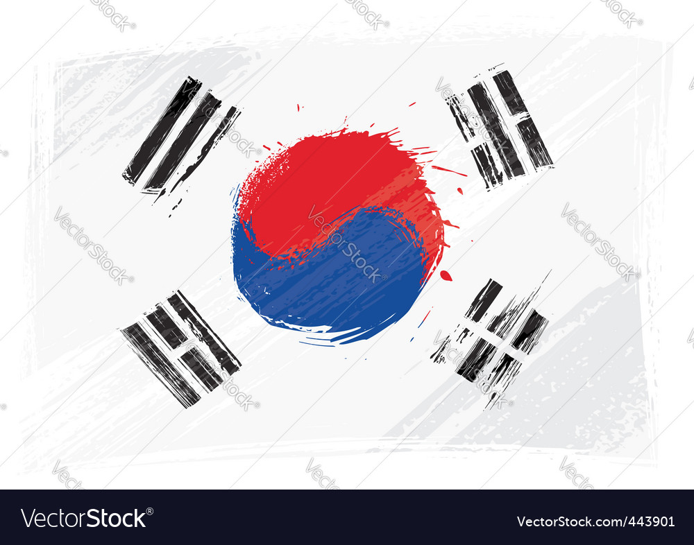 Grunge south korea flag vector | Price: 1 Credit (USD $1)