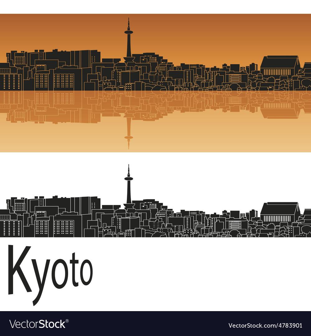 Kyoto skyline in orange vector   Price: 1 Credit (USD $1)