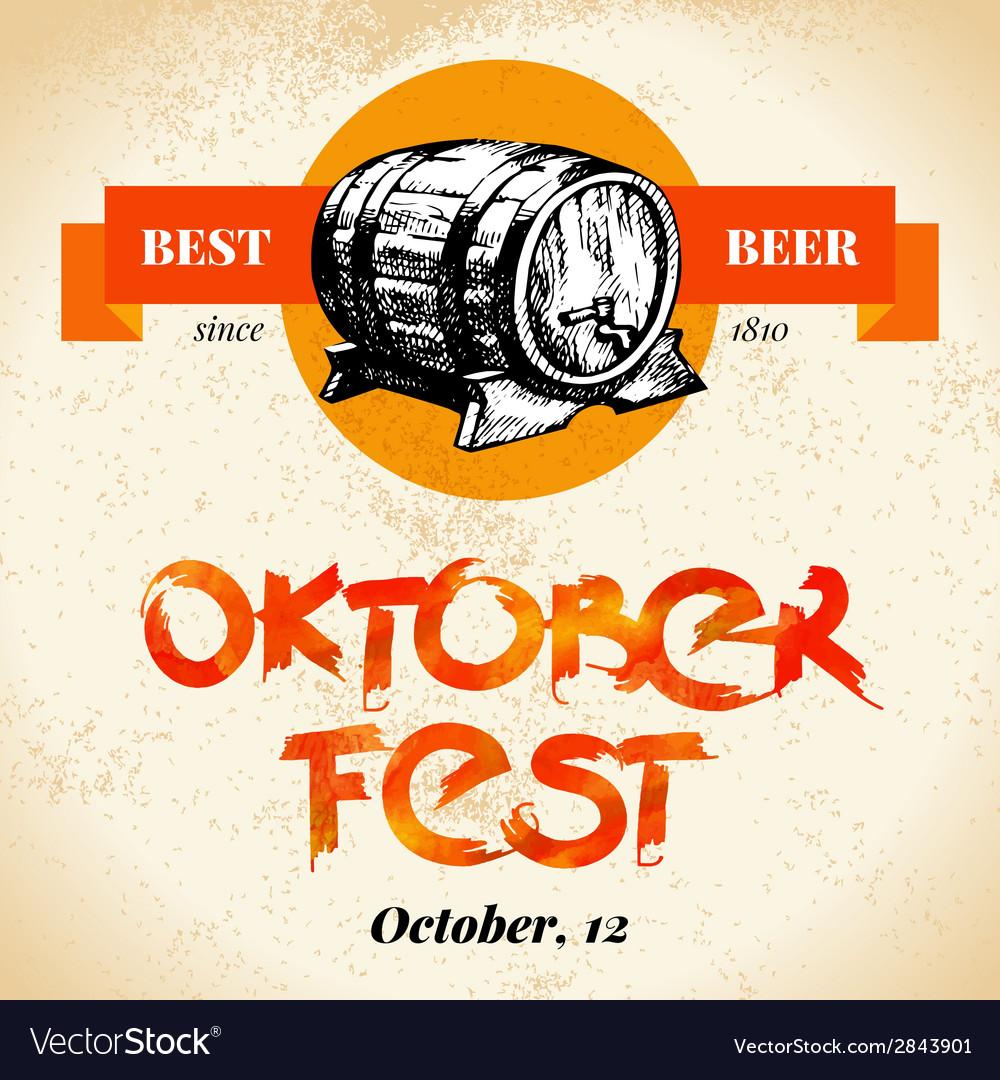 Oktoberfest vintage background typographic poster vector   Price: 1 Credit (USD $1)