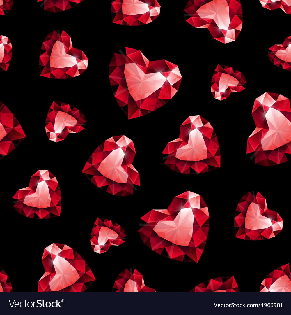Shiny red ruby heart on black background seamless vector