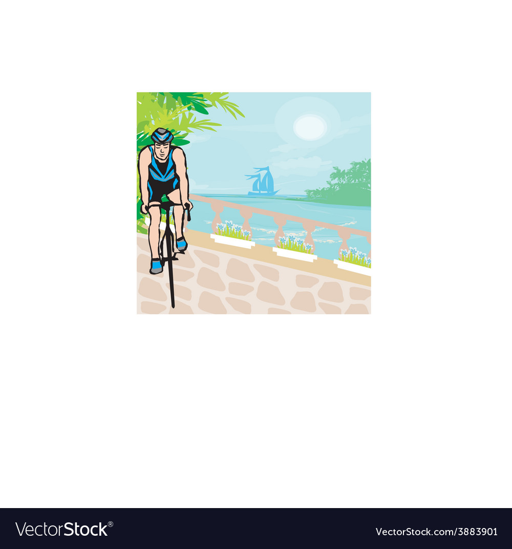Training cyclists in the tropical vacation vector | Price: 1 Credit (USD $1)