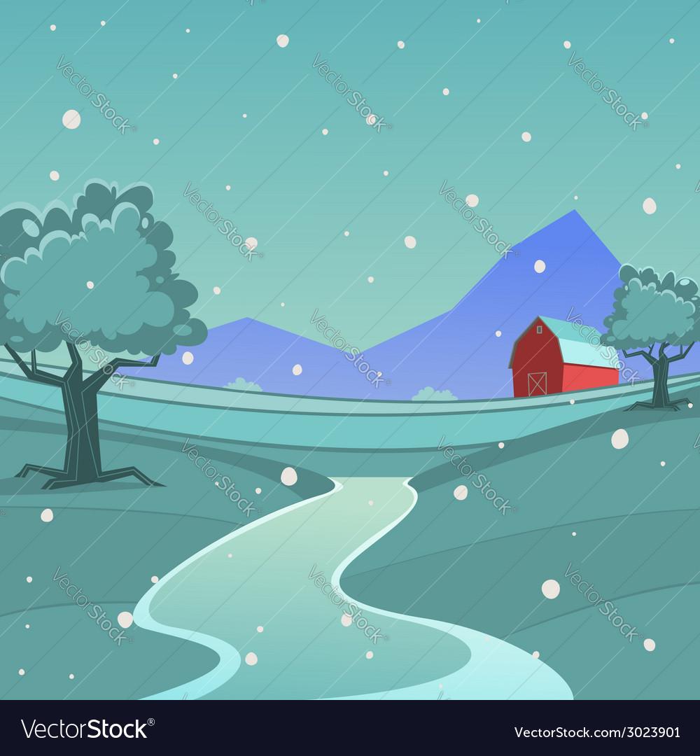 Winter farm landscape vector | Price: 3 Credit (USD $3)