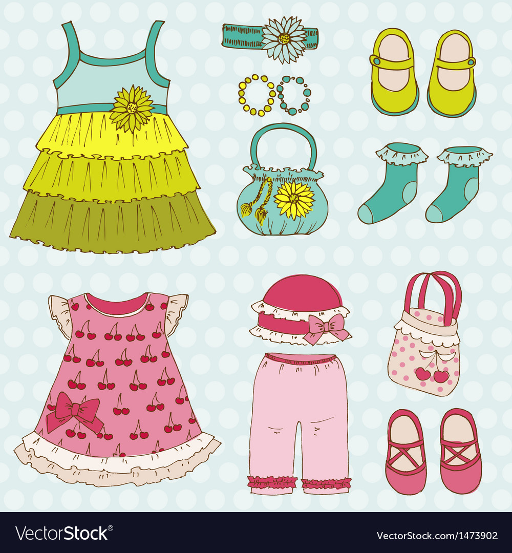Baby girl set vector | Price: 1 Credit (USD $1)