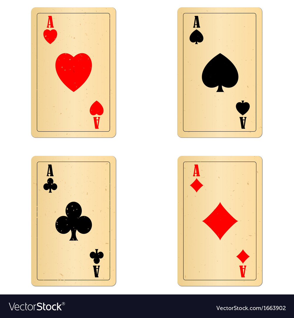 Blank old play cards four aces vector   Price: 1 Credit (USD $1)