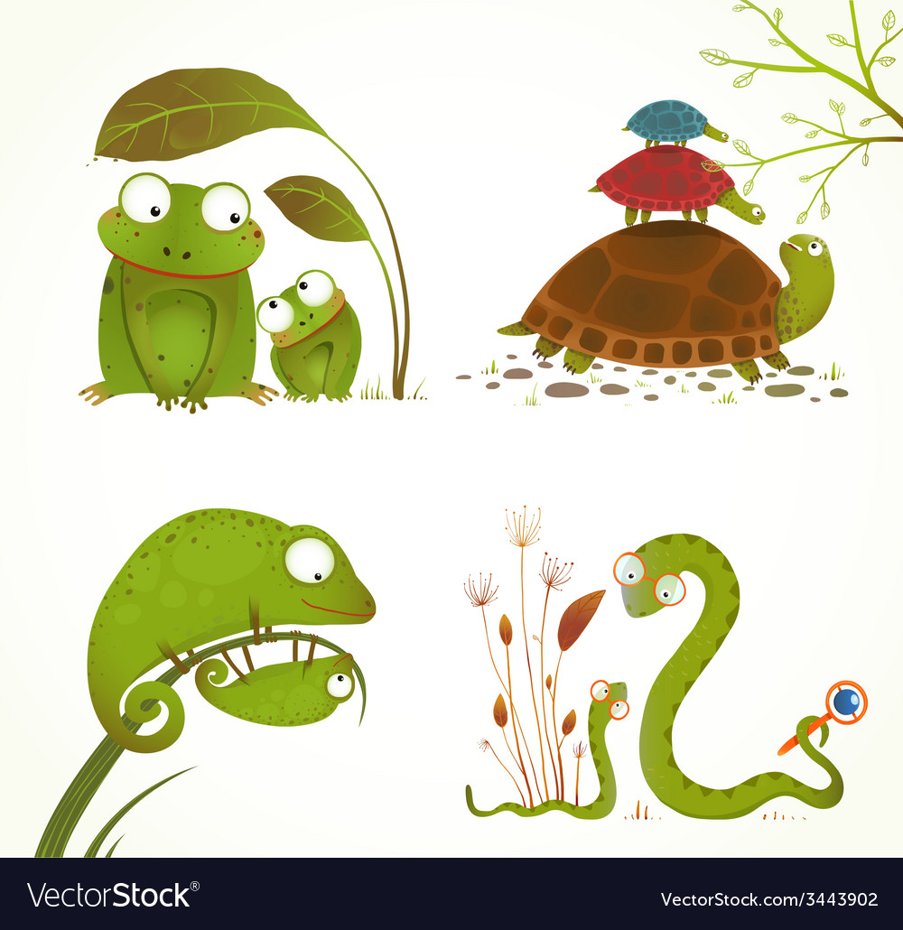 Cartoon reptile animals parent with baby vector | Price: 1 Credit (USD $1)
