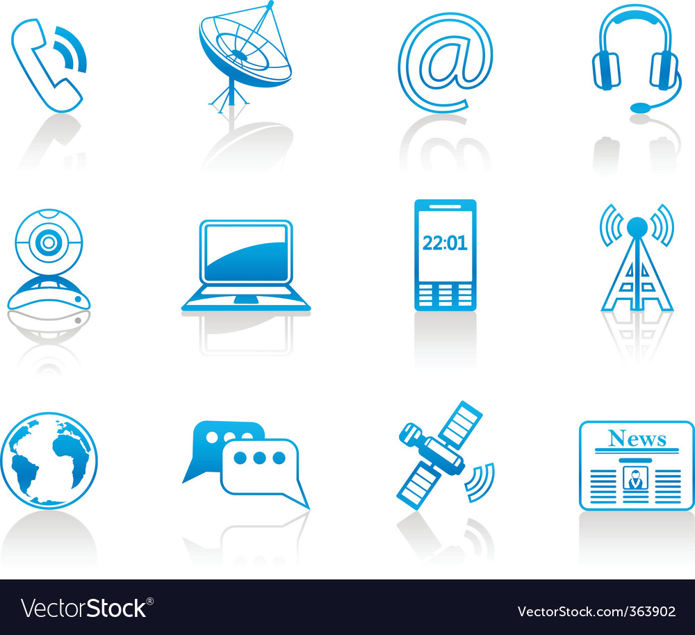 Communication blue icon set vector | Price: 1 Credit (USD $1)