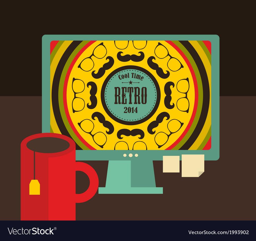 Computer screen i retro colors vector   Price: 1 Credit (USD $1)