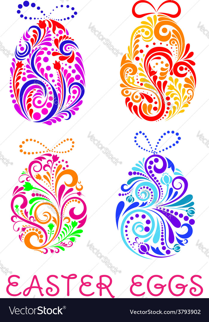 Floral decorative patterned easter eggs vector | Price: 1 Credit (USD $1)
