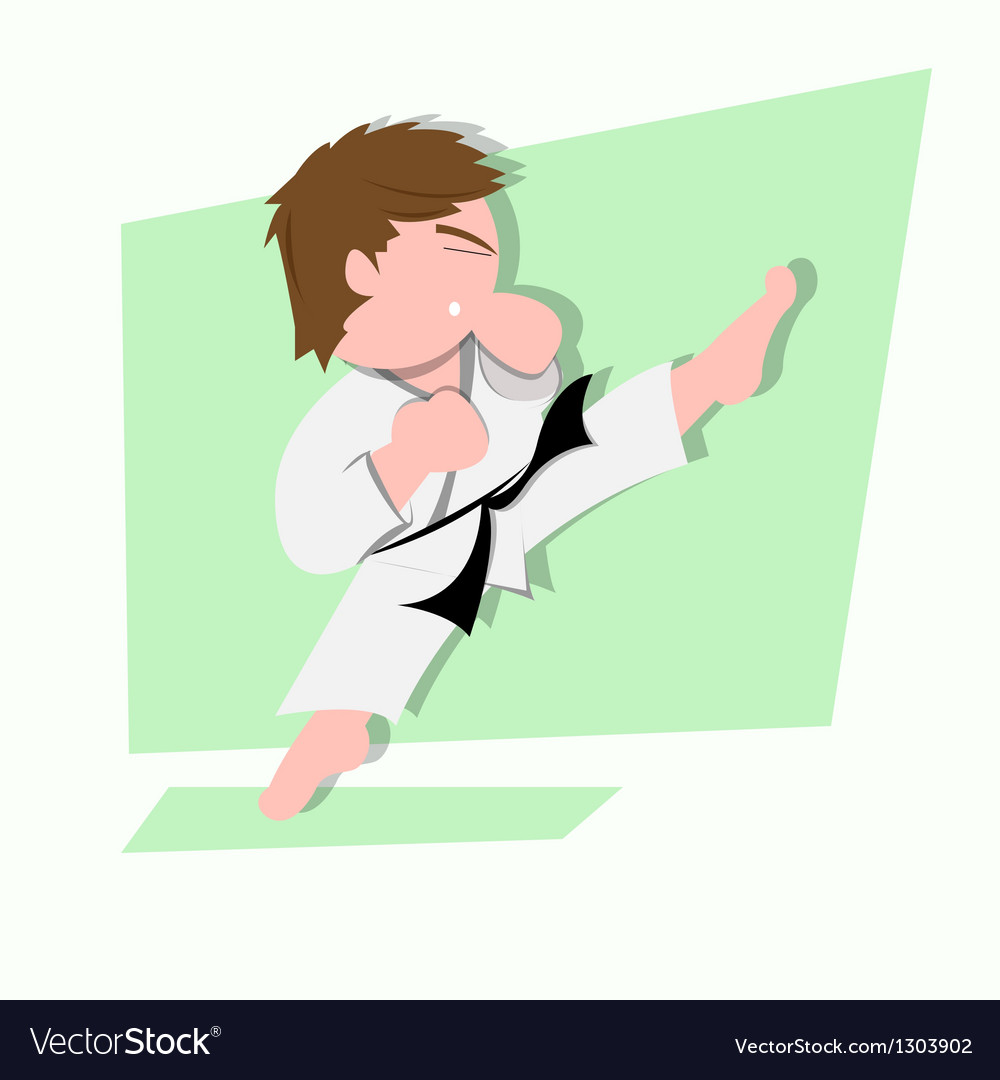 Funny little kids do some karate kick vector | Price: 1 Credit (USD $1)