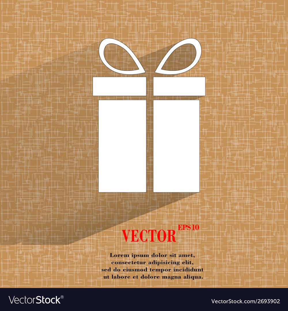 Gift web icon on a flat geometric abstract vector   Price: 1 Credit (USD $1)
