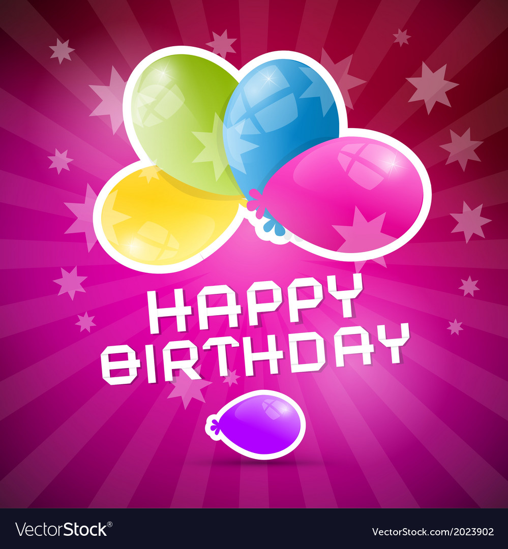 Happy birthday retro pink background with colorful vector | Price: 1 Credit (USD $1)