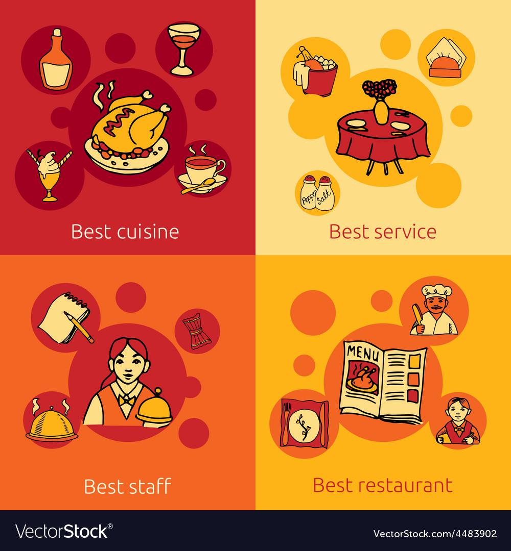 Restaurant design concept 4 flat icons vector | Price: 1 Credit (USD $1)