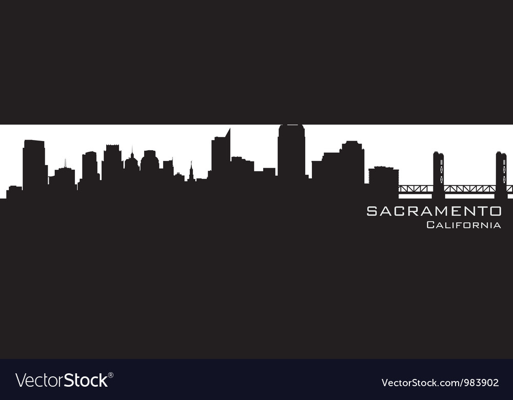 Sacramento california skyline detailed silhouette vector | Price: 1 Credit (USD $1)