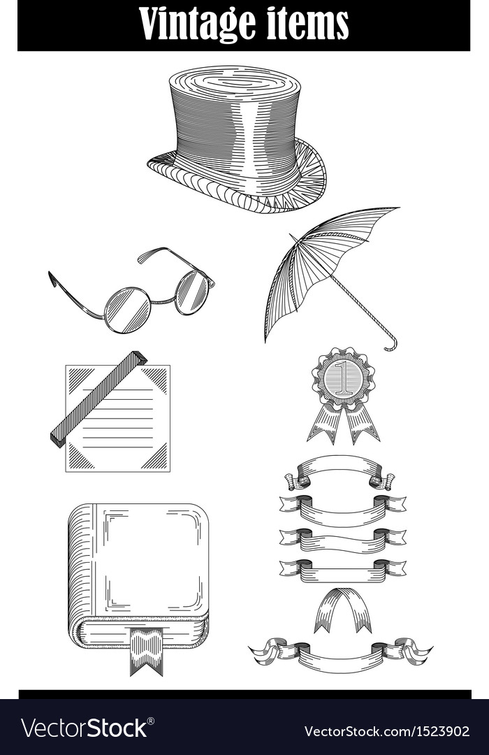 Set of vintage items vector | Price: 1 Credit (USD $1)