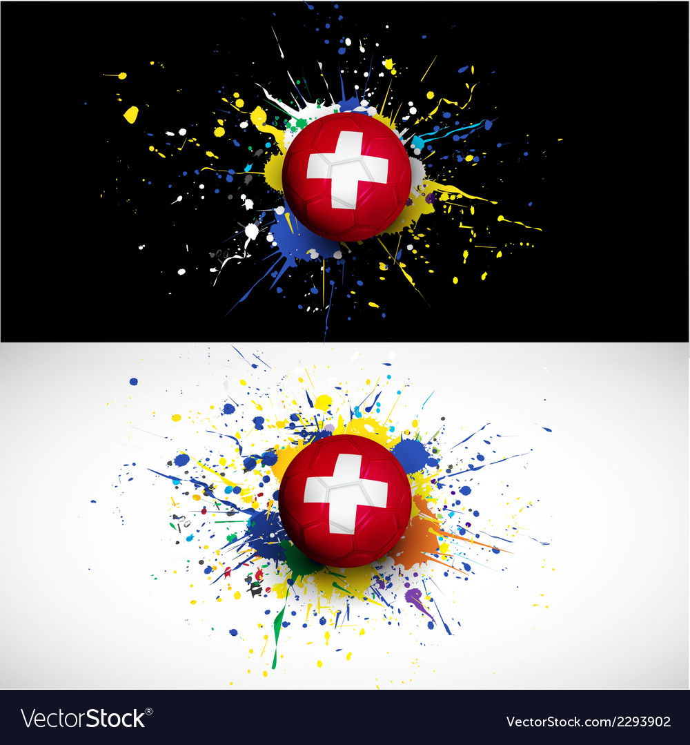 Switzerland flag with soccer ball dash on colorful vector | Price: 1 Credit (USD $1)