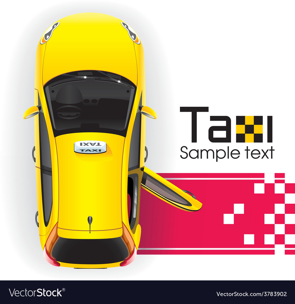 Yellow taxi red carpet vector | Price: 5 Credit (USD $5)