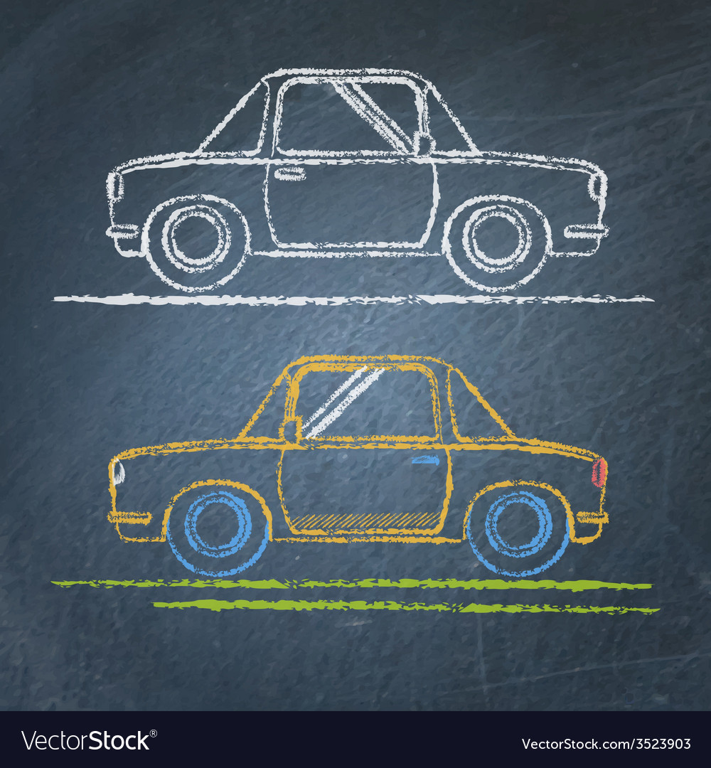 Car sketch on chalkboard vector | Price: 1 Credit (USD $1)