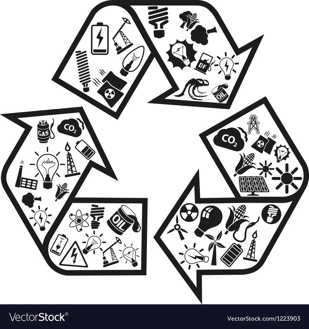 Energy and resource icons in recycle arrow vector | Price: 1 Credit (USD $1)