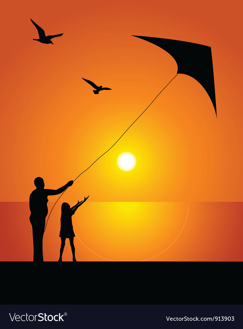 The girl and kite vector | Price: 1 Credit (USD $1)
