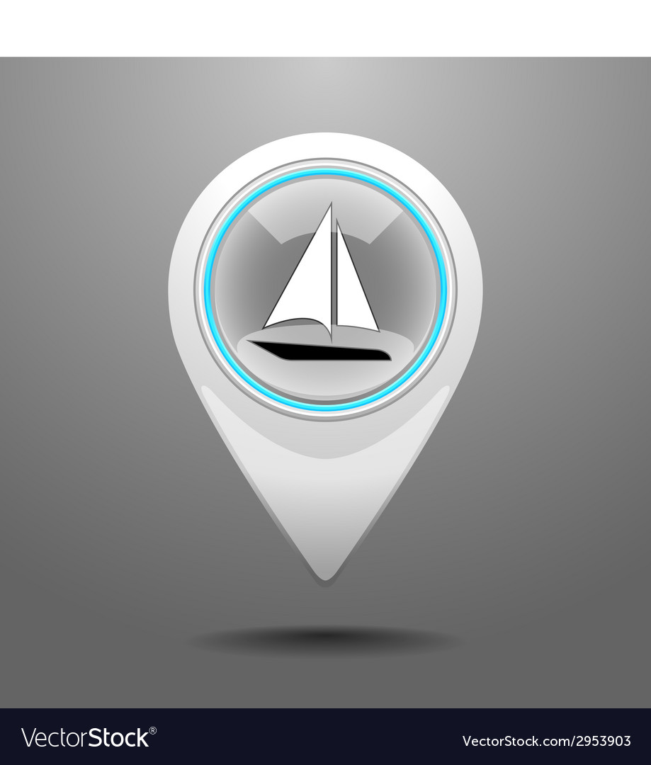Glossy yachting icon vector | Price: 1 Credit (USD $1)