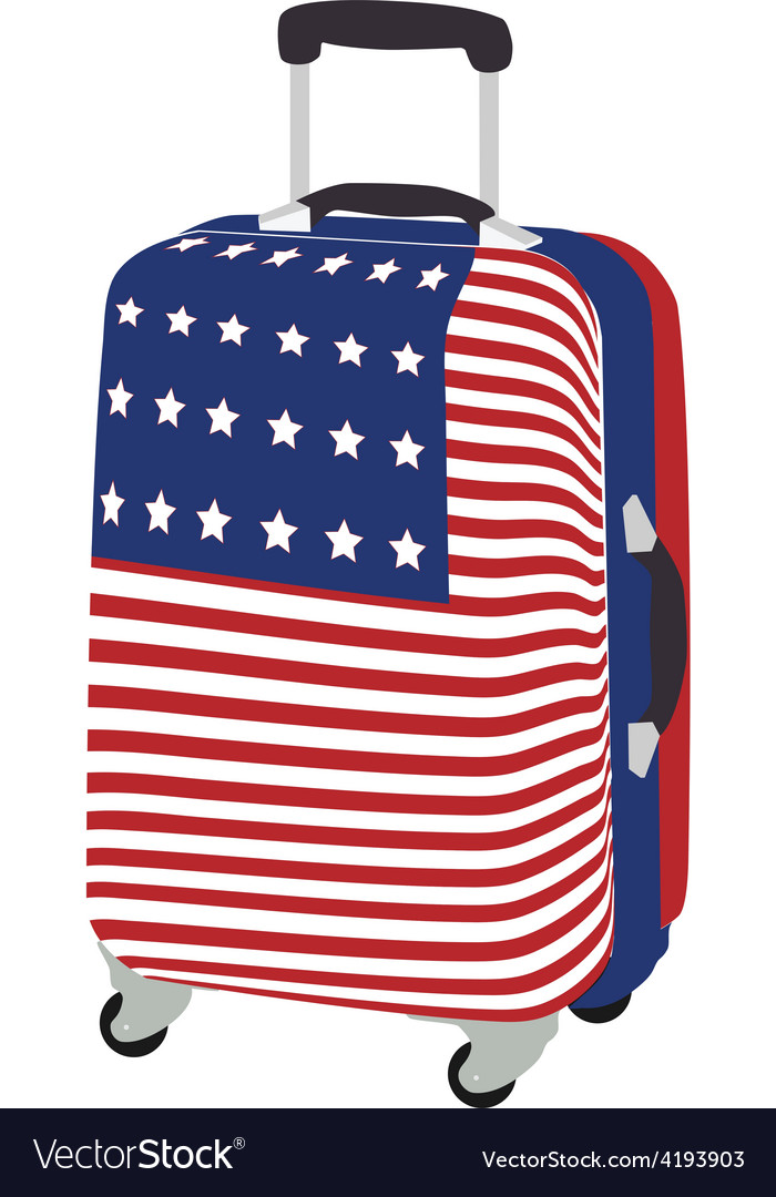 Luggage with usa flag vector | Price: 1 Credit (USD $1)