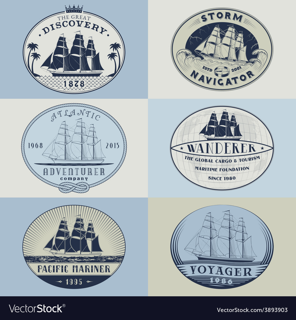Nautical labelscolor1 vector | Price: 1 Credit (USD $1)