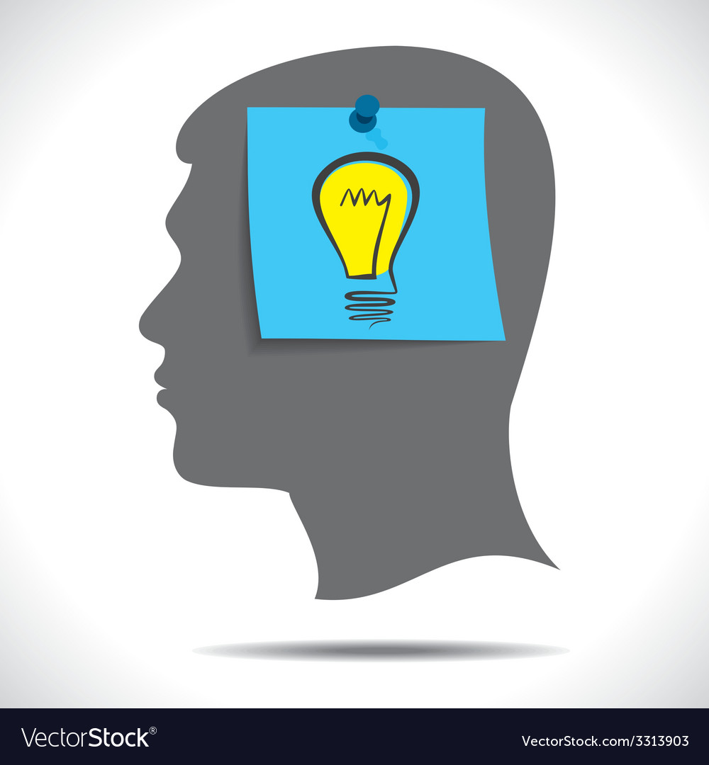 New idea bulb paper note in human head vector | Price: 1 Credit (USD $1)
