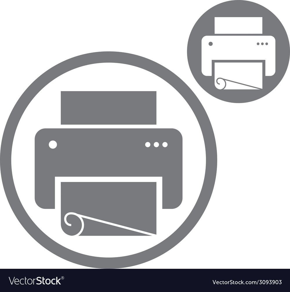 Printer simple single color icon isolated on white vector | Price: 1 Credit (USD $1)