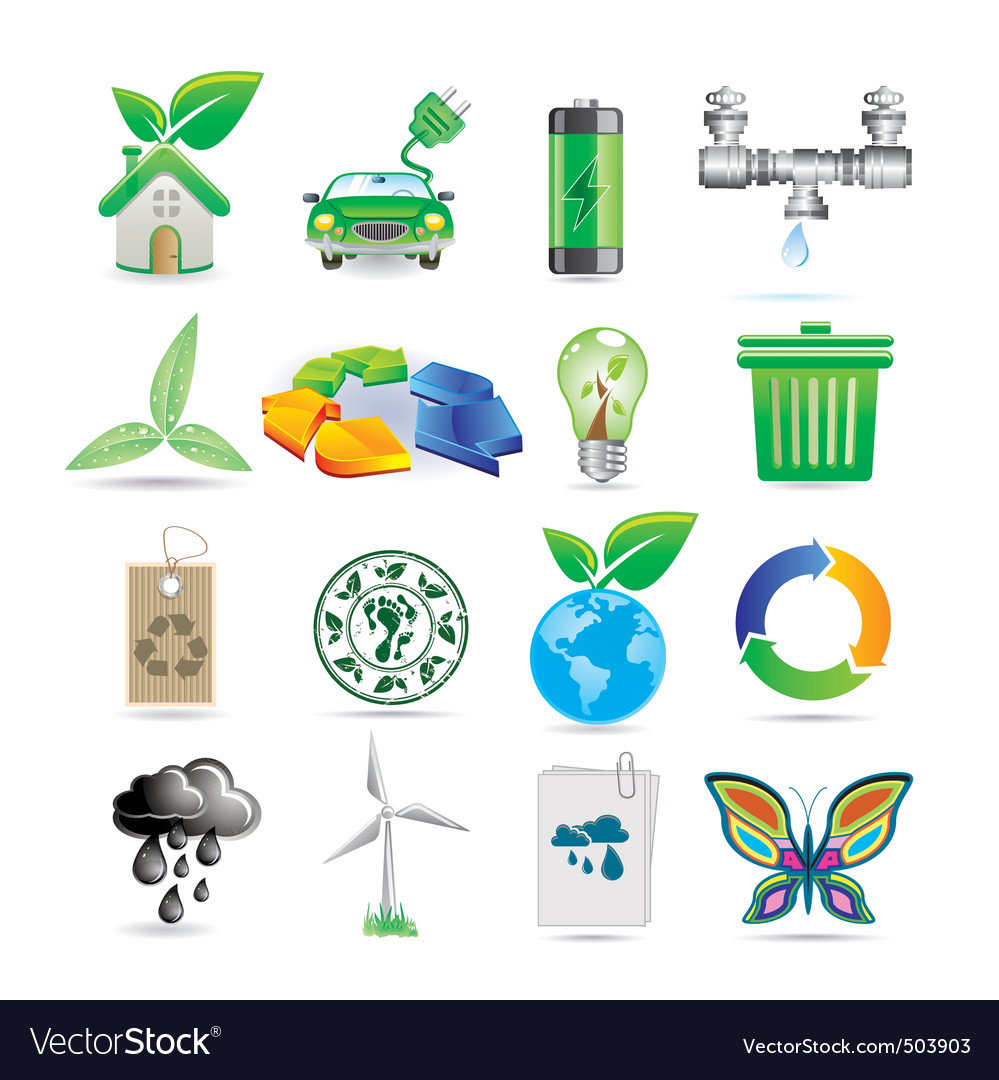 Set of ecology icons vector | Price: 3 Credit (USD $3)