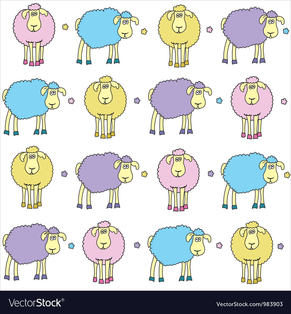 Sheeps coloured vector | Price: 1 Credit (USD $1)