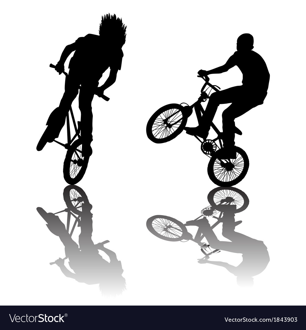 Silhouettes of bikers doing tricks vector | Price: 1 Credit (USD $1)