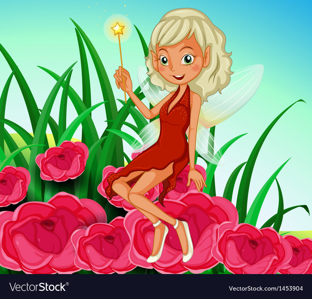 A fairy holding a wand sitting at the red flowers vector   Price: 1 Credit (USD $1)
