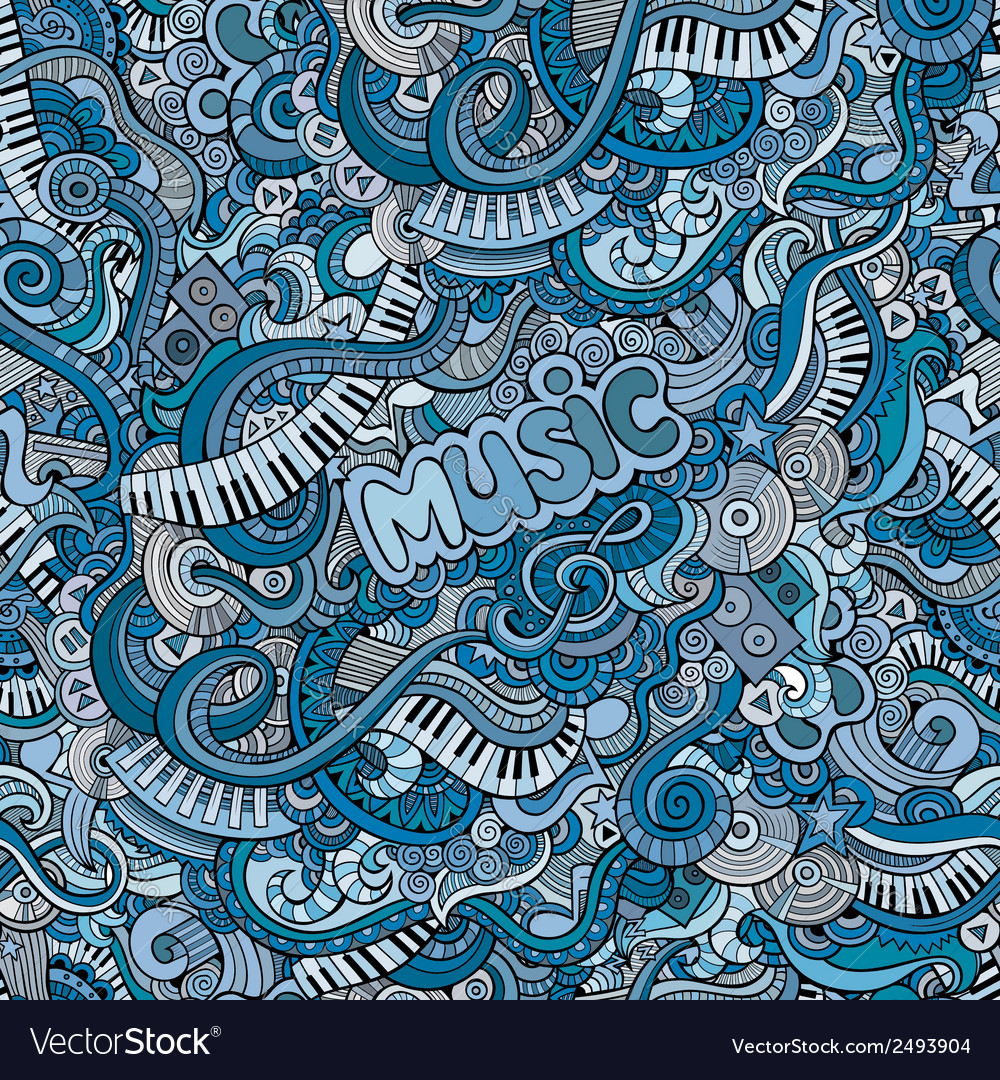 Abstract decorative doodles music seamless pattern vector | Price: 1 Credit (USD $1)