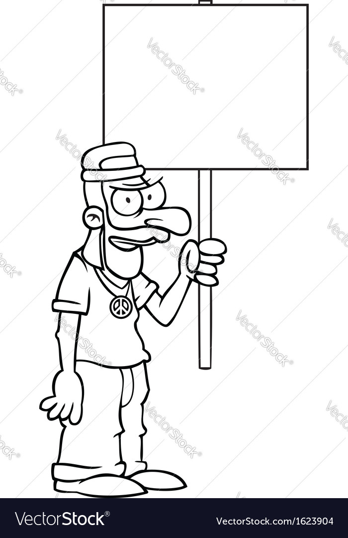 Black and white angry hippie with protest sign vector | Price: 1 Credit (USD $1)