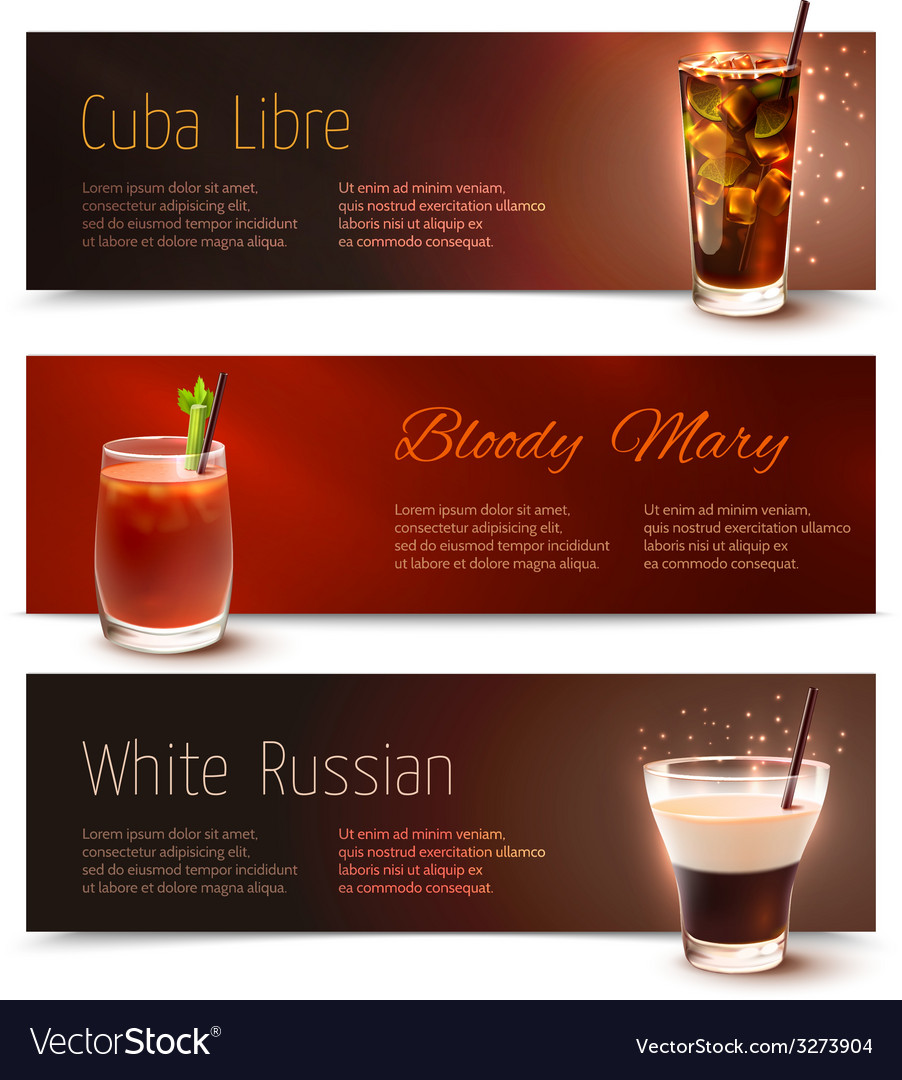 Cocktails banner set vector | Price: 1 Credit (USD $1)