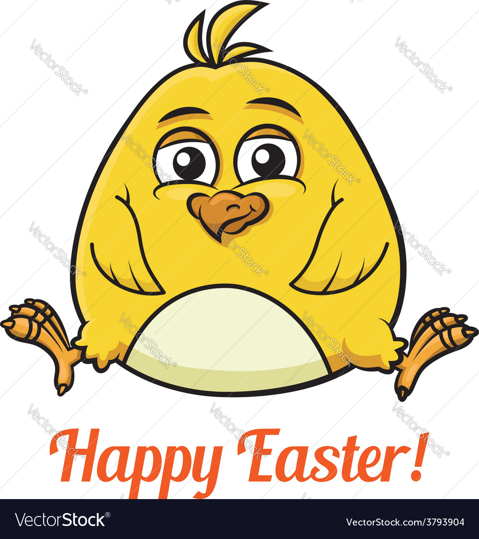 Cute little yellow easter chick vector | Price: 1 Credit (USD $1)