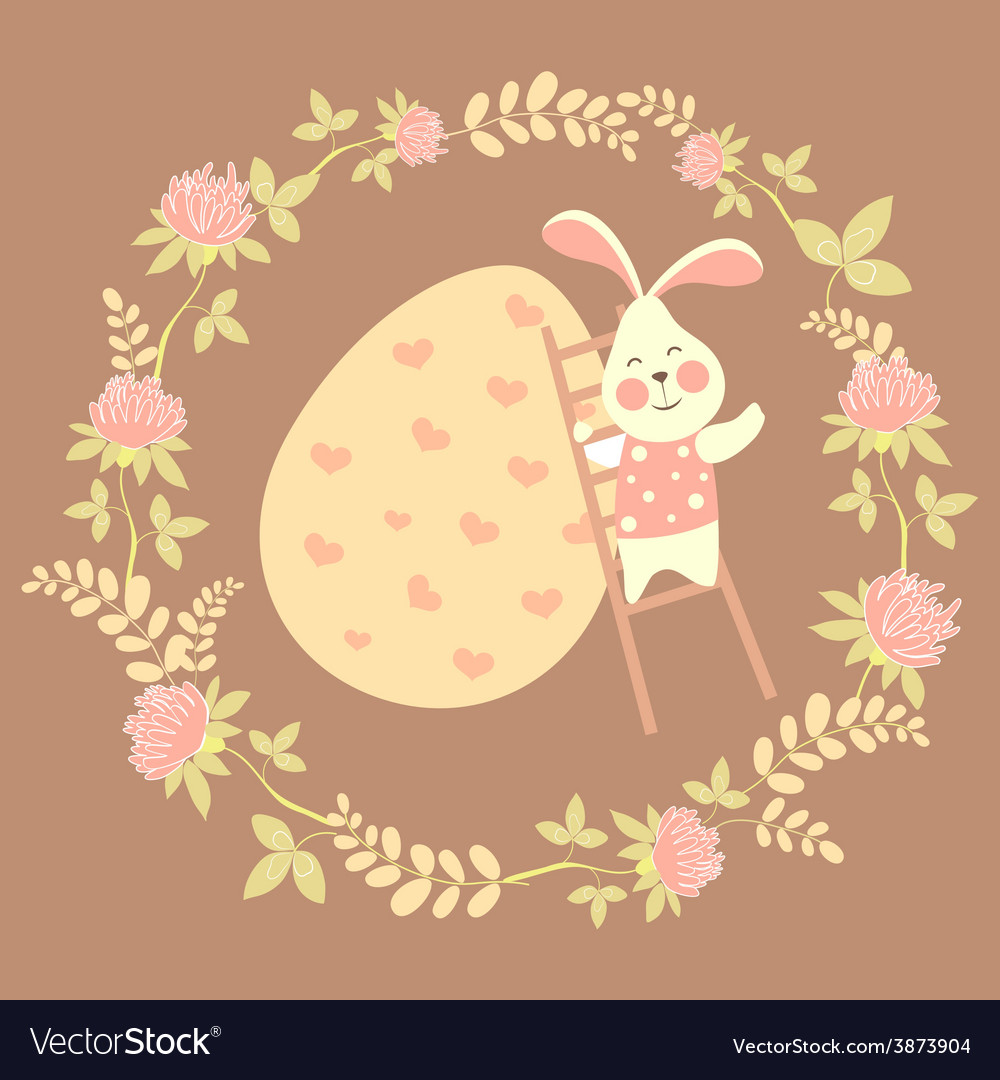 Easter bunny and easter egg vector | Price: 1 Credit (USD $1)