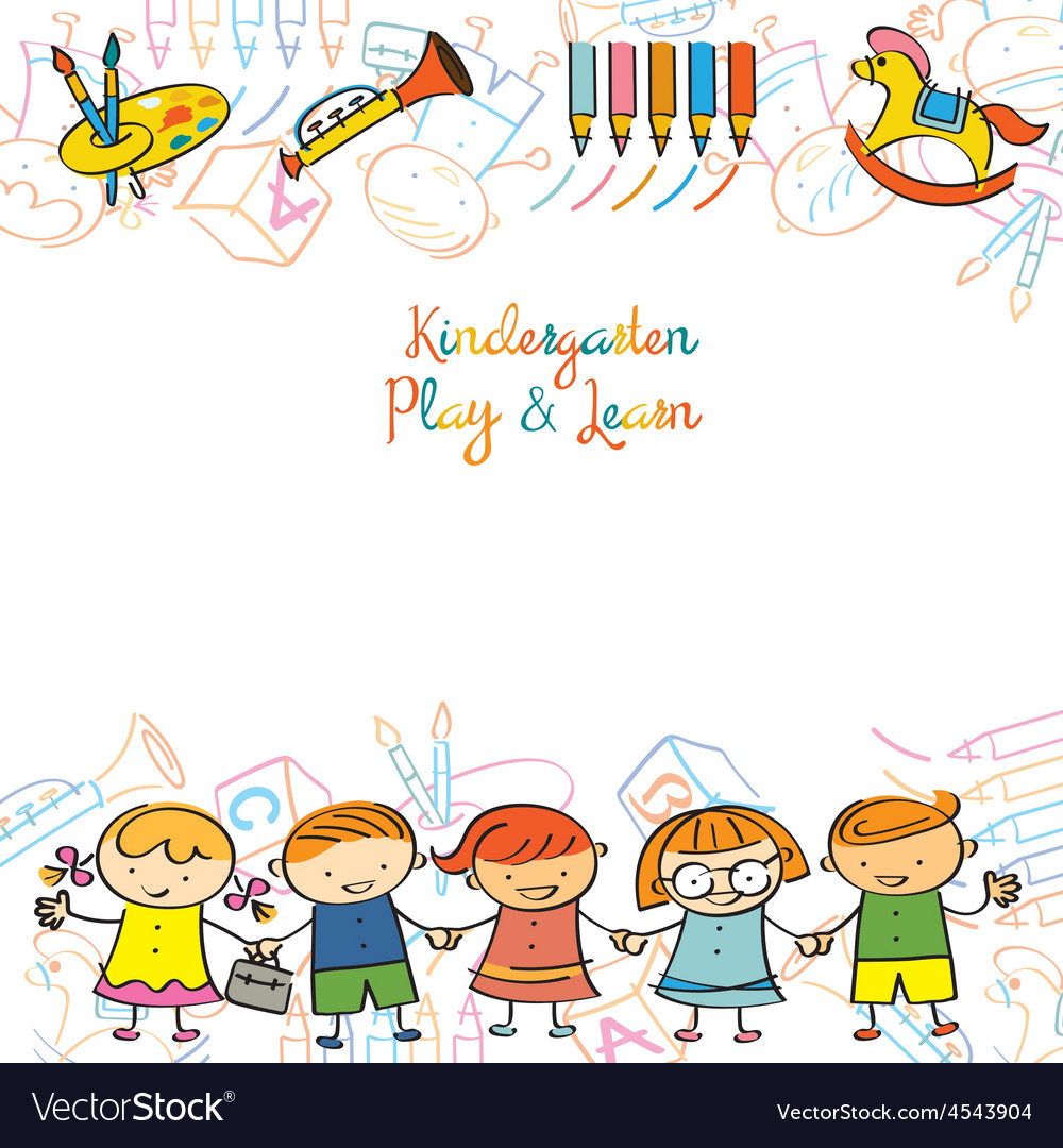 Kindergarten kids and playground frame vector | Price: 1 Credit (USD $1)